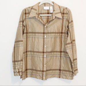 Liz Claiborne Gold Metallic Long Sleeve Blouse 10